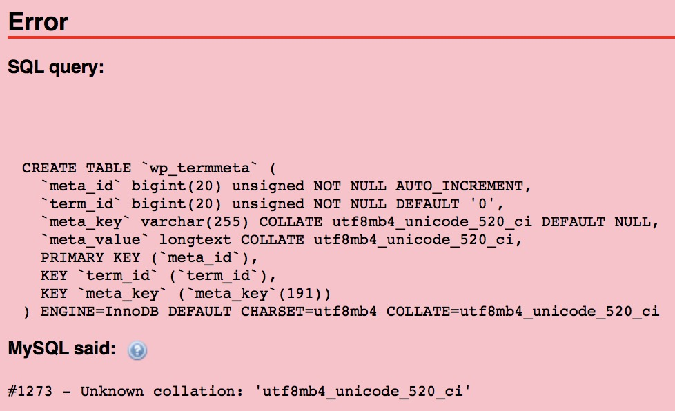 MySQL unknow collation utf8mb4_unicode_520_ci